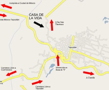 Mapa 3: Casa de la Vida en Tepoztlán, México